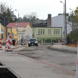 ul. Marcinkowskiego  w Inowrocławiu  w trakcie przebudowy